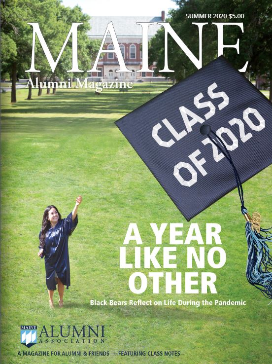 "An Image of the front cover of the Summer 2020 edition of the Alumni Magazine. It depicts a graduate throwing her cap into the air with the text ""A Year Like No Other: Black Bears reflect on life during the pandemic""."